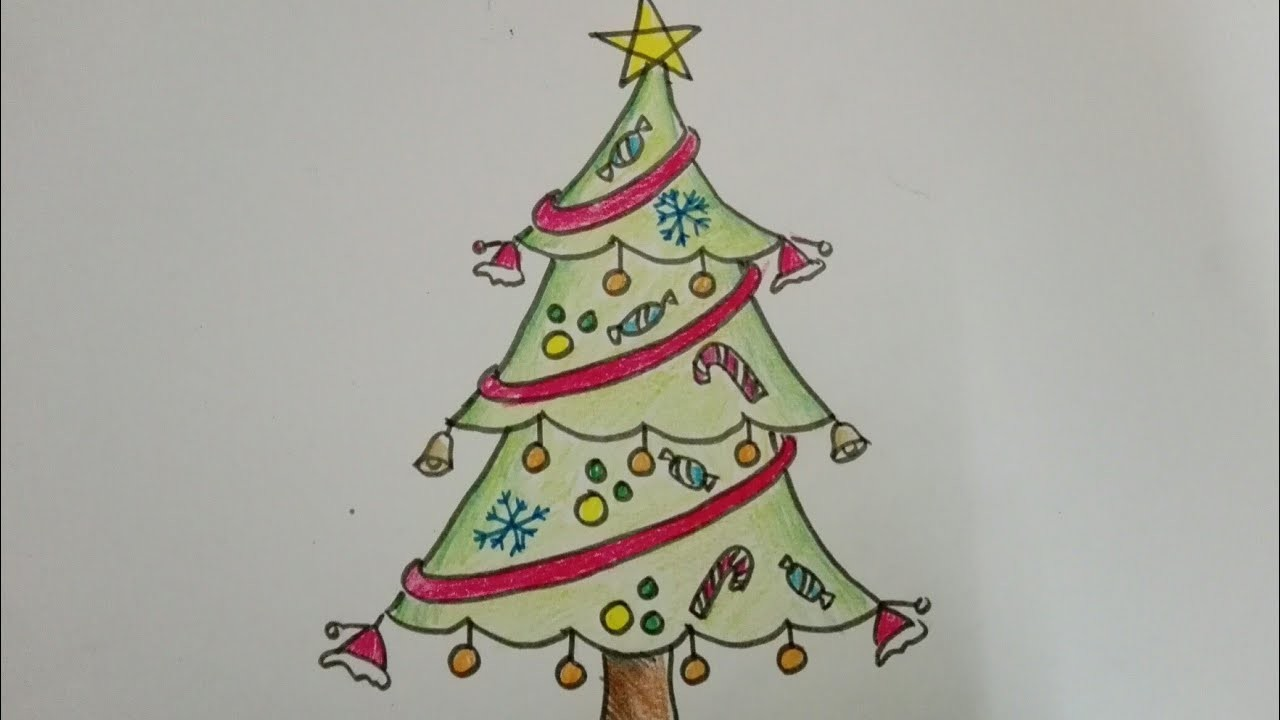 Drawing Of A Christmas Tree Easy.How To Draw Christmas Tree Easy