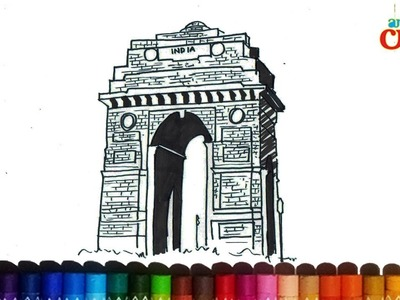 How to draw India gate step by step for kids # New Delhi