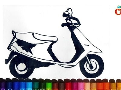 How to draw Scooty.moped.two Wheeller  Very Easy step by step