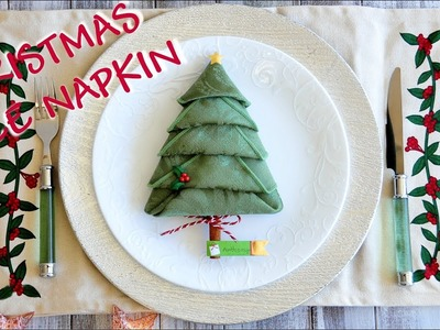 How to Fold Christmas Tree Napkin -  Christmas Party Tablescape and Place Card Idea
