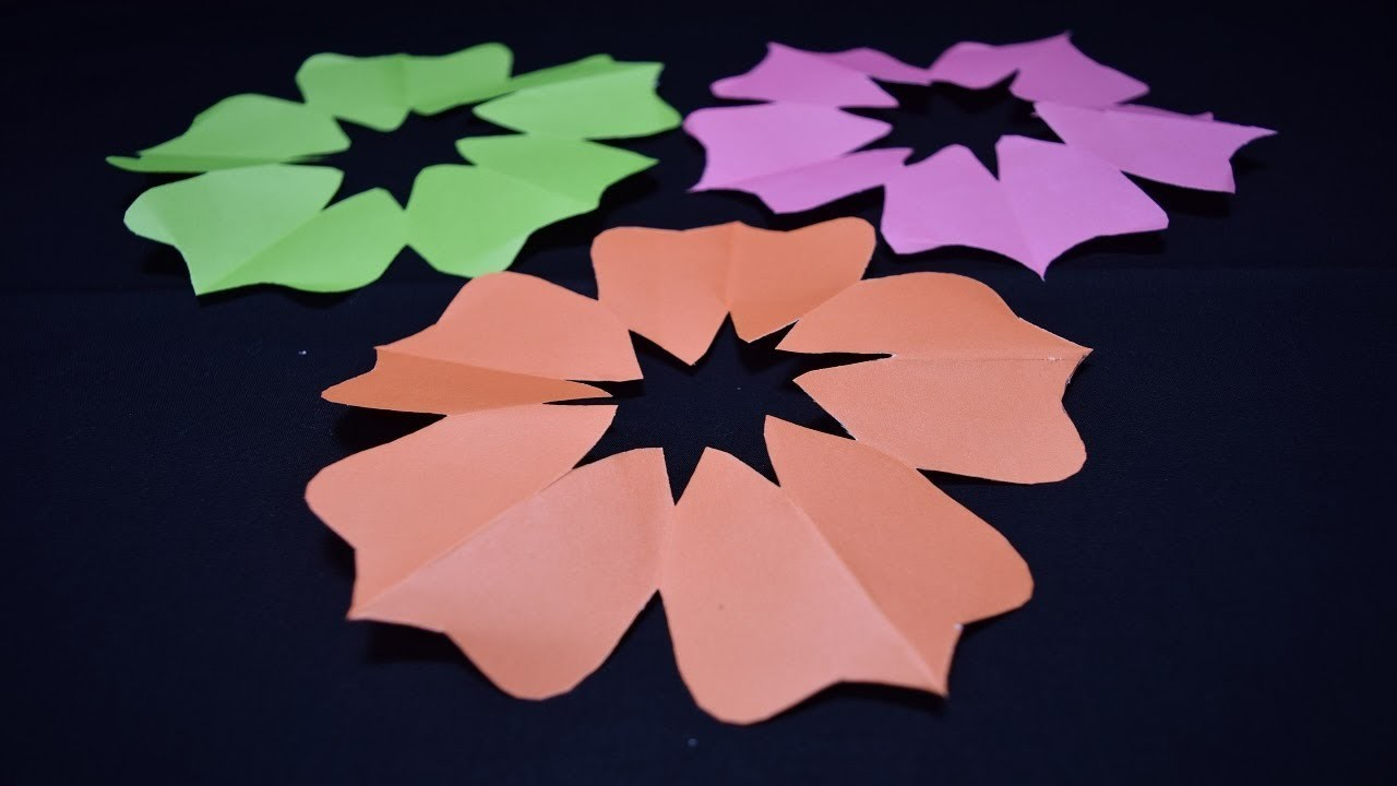 How To Make 5 Petal Hand Cut Paper Flowers Paper Craft