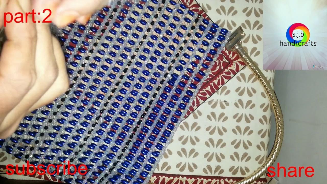 How to make a beaded hand bag.diy bag(part:2)