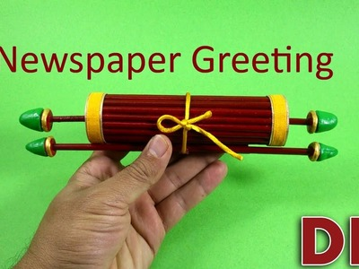 How to make a Christmas greeting from newspaper.