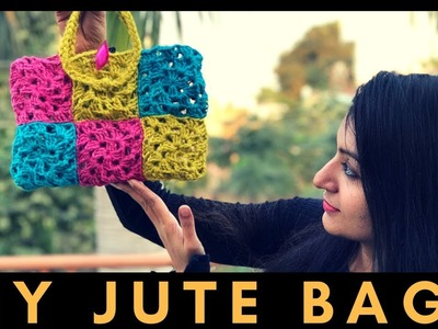 How to make a Jute Handbag at home | DIY Jute Bag with Crochet