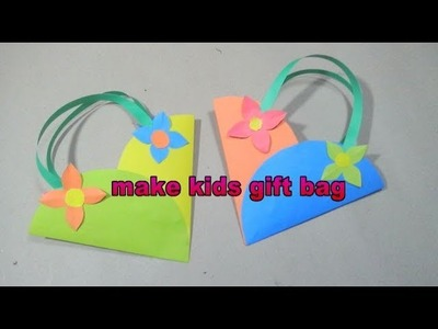 How to make beautiful gift paper bag  for kids   easy origami tutorial