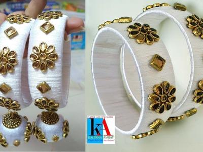 How to make Designer Antique Silk Thread Bangles || Bangles with  Hanging Jhumkas