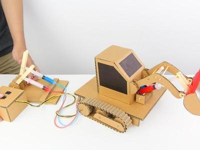 How to Make Hydraulic Powered Bulldozer from Cardboard