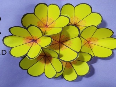 How to make origami paper 3d pop up flower card step by step tutorial ????