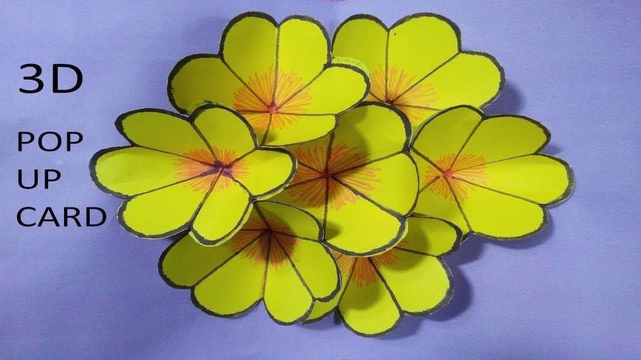 How To Make Origami Paper 3d Pop Up Flower Card Step By Step