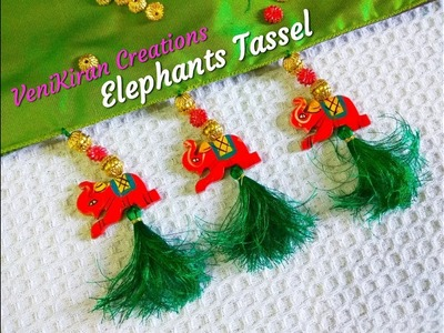 How to Make Saree Tassel.Kuchu design with Elephant Beads@ Home - Design 37::Tutorial