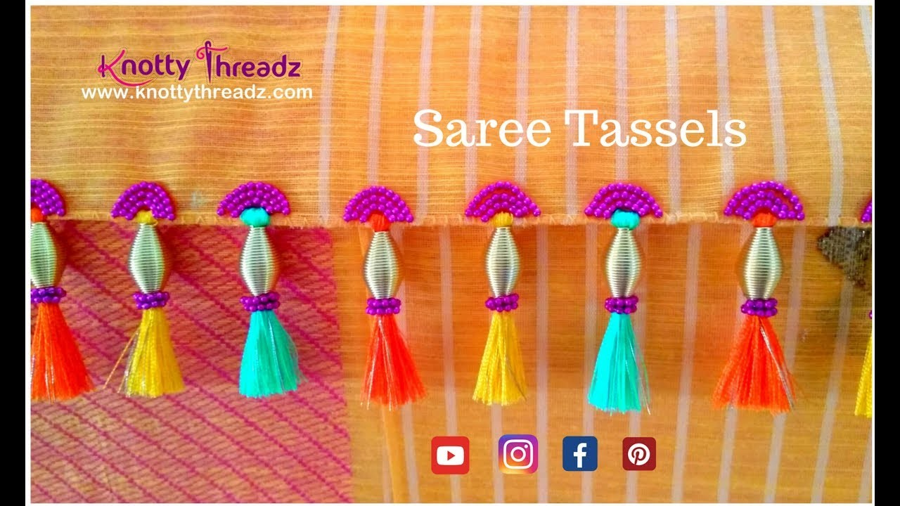 How to make Saree Tassels at home Tutorial | Saree Kuchu |  Authentic Design | www.knottythreadz.com