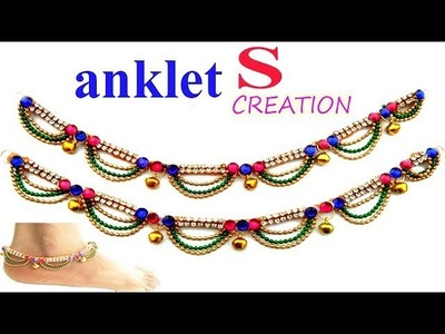 How to make silk thread payal.anklet at home ! silk threads payal.anklet tutorials complite part=1