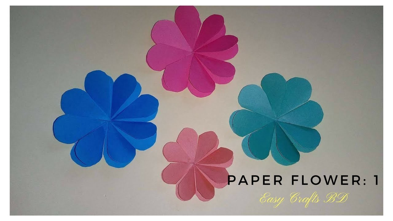 How To Make Simple And Easy Paper Flowers Tutorial 1