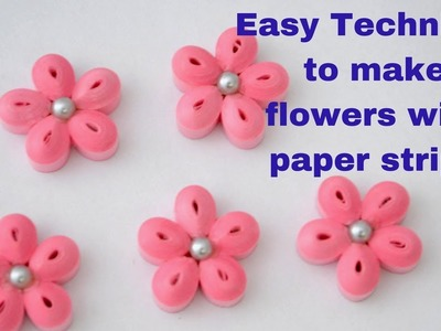 How to make simple flower with paper quilling art | DIY flowers with paper strips