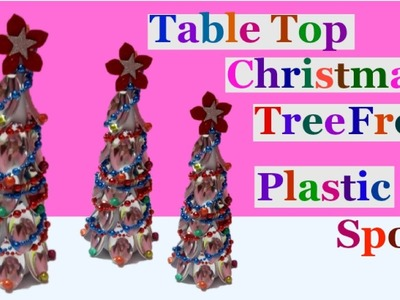 How to make Tabletop Christmas tree from plastic spoon.Christmas Decoration Idea| easy  crafts ideas