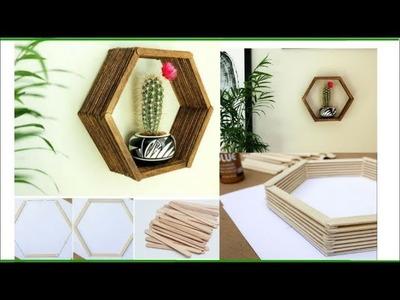How to make Wall Shelf using Ice Cream sticks | Wall Décor