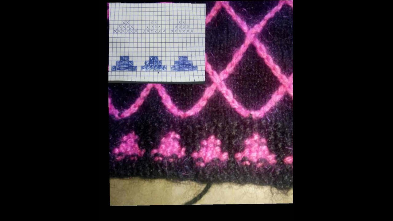 Knitting double colour border desing.  two colour border with graph ( Hindi)
