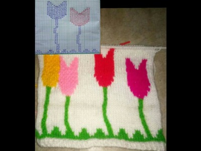 Knitting tulip design || woolen sweater tulip design with graphgraph ( hindi )