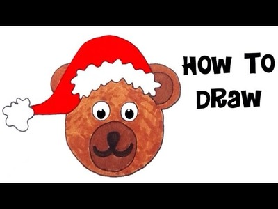 Learn how to draw and color santa claus teddybear kids drawing coloring Christmas diy arts crafts