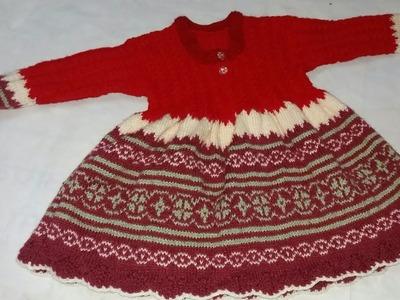 Multi colour frock knitting design# part -2