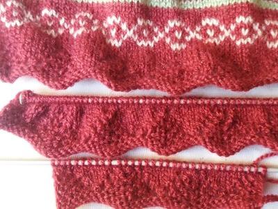 Multi colour frock knitting design ( bordar knitting )