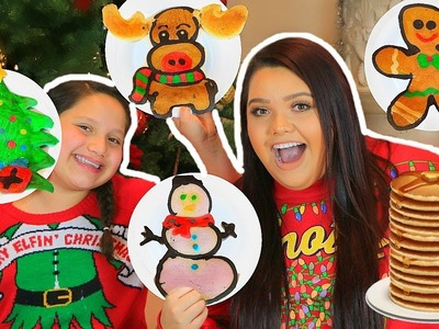 PANCAKE ART CHALLENGE! How To Make Holiday Art Pancakes!