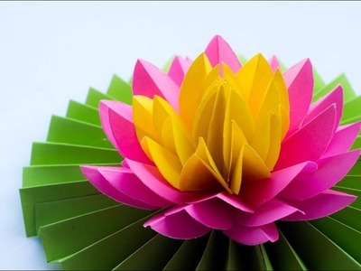 Paper Lotus - How to Make Most Beautiful Paper Lotus. Water Lily - DIY - Try At Home ????