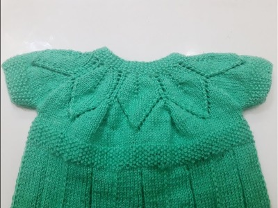 Part 3.4 - knitting frock in leaf pattern - step by step tutorial - easy made with straight needles