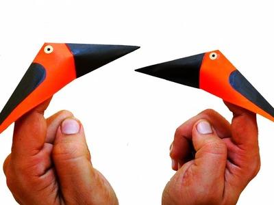 Pecking Paper Bird | How To Make A Pecking Bird | Finger Bird | Origami Paper Bird