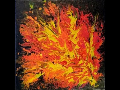 """(8) How to do Acrylic Pour with Sandra Lett Flames I and II  12""""X12"""" 120117"""
