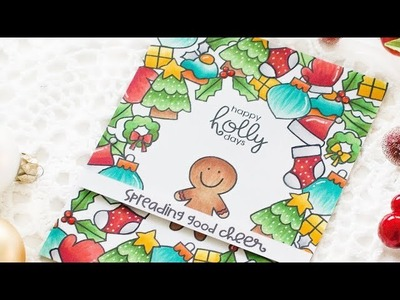 Christmas Card w. Stamped Background | Copic Marker Coloring How-to Video