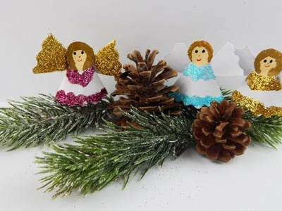 Christmas table deco angels DIY papercraft Xmas decoration angel crafting with paper glitter