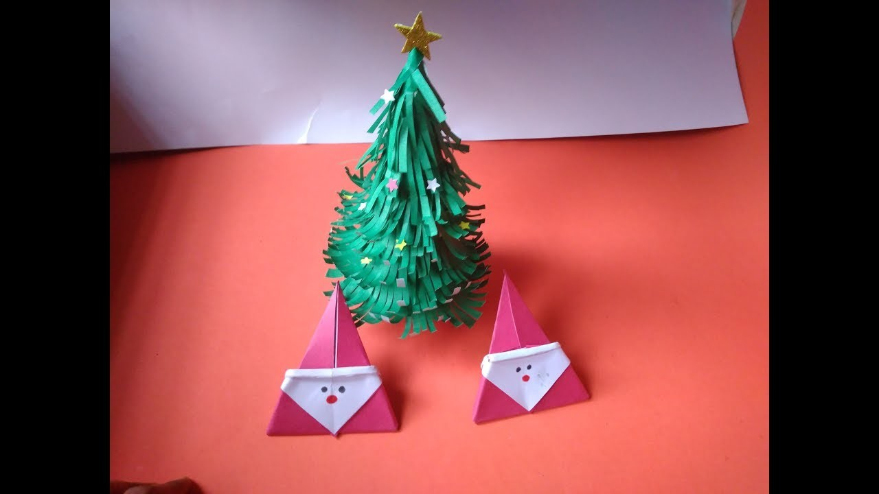 Diy Christmas tree and Cute Small Paper Santa claus || very easy in just 5 minutes at home