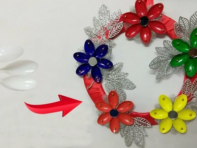 DIY Christmas Wall Decoration Ideas : How to Make Christmas Wreath From Plastic Spoon