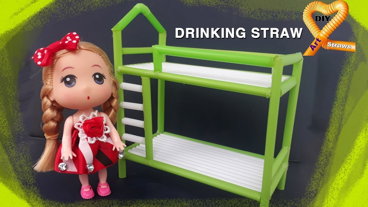 Diy doll bunk bed - How to make a doll bunk bed out of straws - Doll Crafts