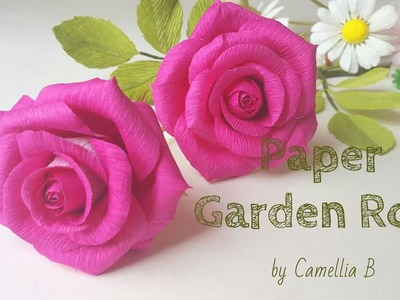 DIY- How to make paper Garden rose from crepe paper - Part 2- Realistic paper rose