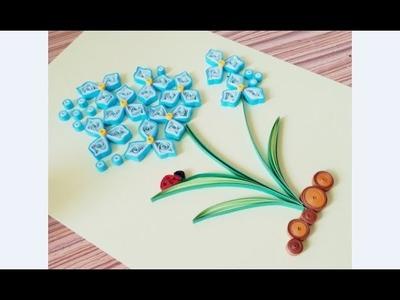 DIY Paper Quilling Flower For beginner Learning video 37. Paper Quilling Flower Card