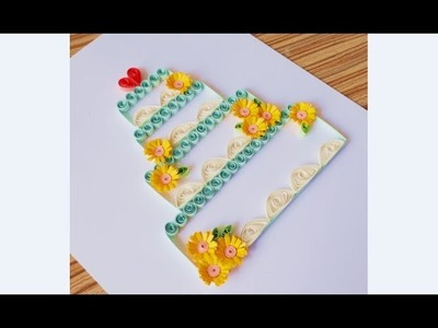DIY Paper Quilling Flower For beginner Learning video 36. Paper Quilling Birthday Card