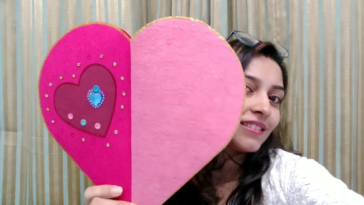 Diy Valentines Greeting Card How To Make Heart Shaped Paper Gift Box