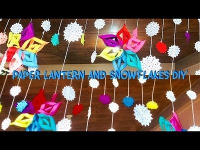EASY PAPER LANTERN AND SNOWFLAKES DIY