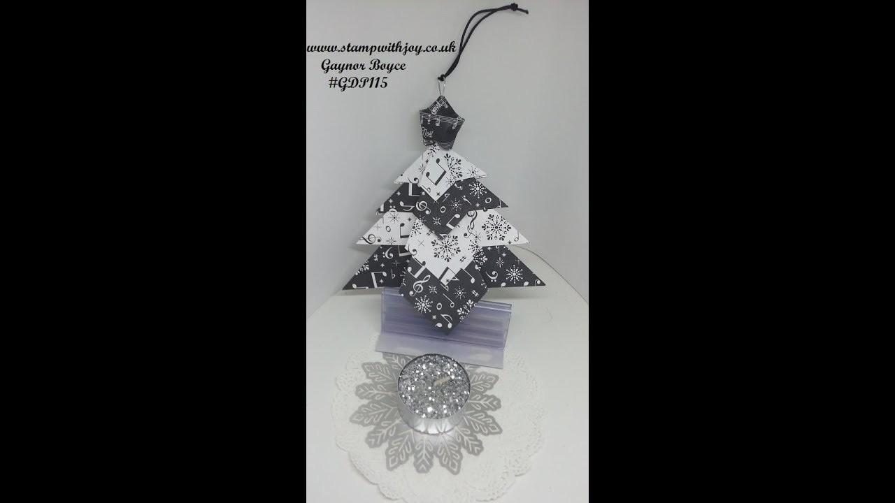 Folded paper Christmas Tree made simple DIY #GDP115