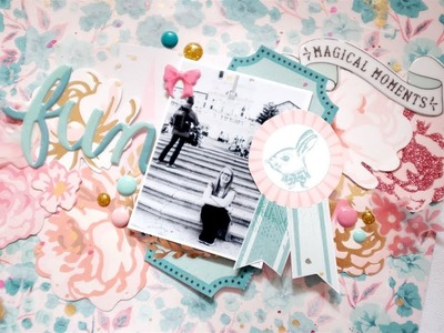 """Fun"" Scrapbook Layout Process. Maggie Holmes Florals. Crate Paper Thursday"