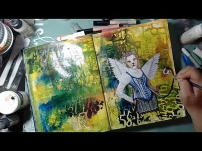 How I turned a Lady into a Cat : Art Journal Page : Mixed Media
