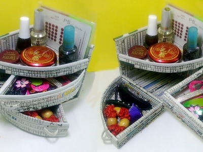 How to make a Mini Dressing table Organizer Using Newspaper | Newspaper 7 | All type videyos