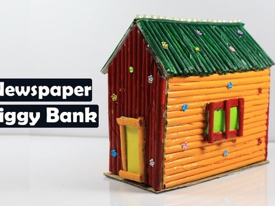 How to make a newspaper piggy bank for kids | Newspaper Crafts