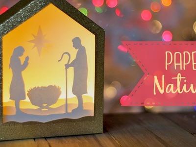 How To Make A Paper Nativity Shadowbox + Free SVG file! ????  Craftmas
