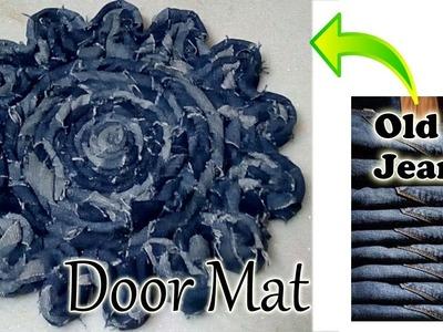 How to make Door Mat using Waste. Old Jeans    Diy