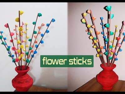 How to make flower sticks easy at home | Newspaper flower stick tutorial