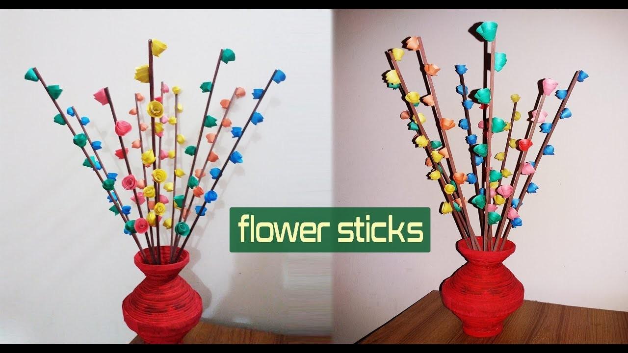 How to make flower sticks easy at home   Newspaper flower stick tutorial