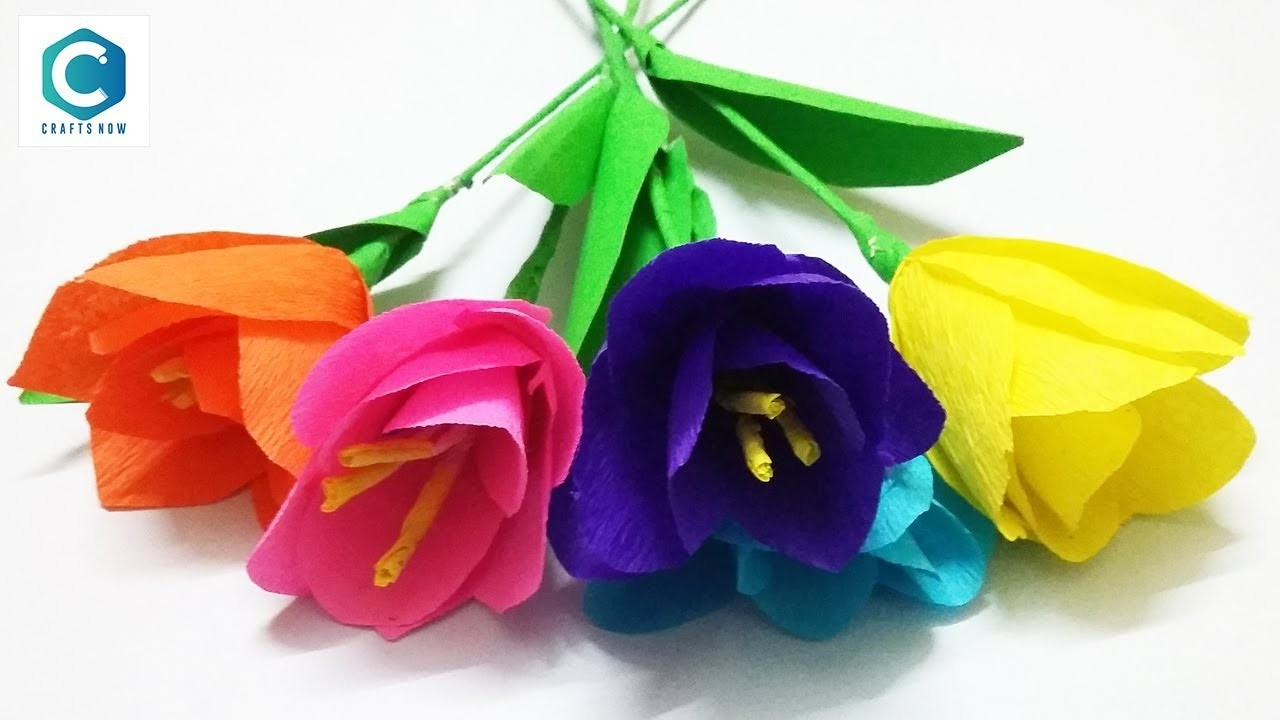 How To Make Flowers With Paper Making Paper Flowers Step By Step
